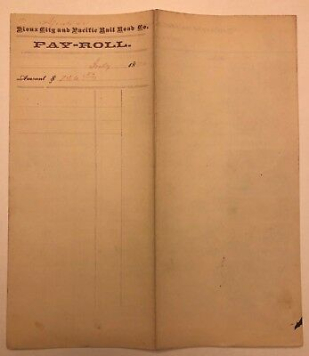 1870 Sioux City & Pacific RR Payroll Ledger with Ten R15 Revenues! Signatures!