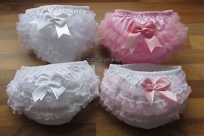 Baby Girls Frilly Bum Pants Lace Knickers White Pink Bow Christening Clothing