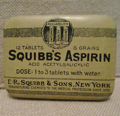 Vintage Advertising Tin Can-SQUIBB'S ASPIRIN-Medical Chemists-Drug Co.-Health