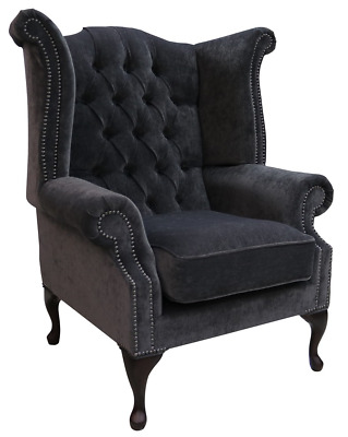 Chesterfield Queen Anne High Back Wing Chair Pimlico Charcoal Fabric