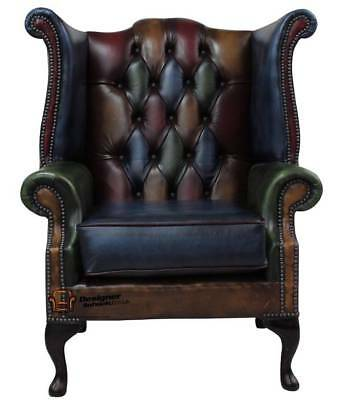 Chesterfield Queen Anne Armchair Antique Patchwork Leather High Back