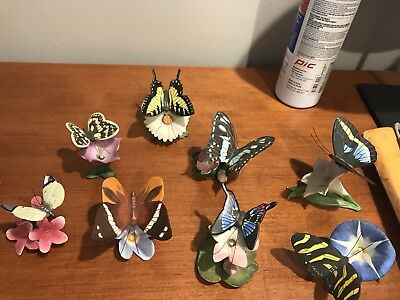 Collection Of 8 Vintage porcelain butterfly figurines