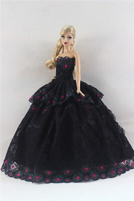 Black Fashion Princess Party Dress/Evening Clothes/Gown For Barbie Doll S348