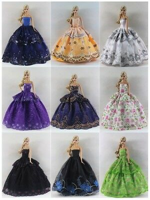 Lot 15 items= 5 Princes Dress/Wedding Clothes/Gown+10 shoes For 11.5in.Doll S018