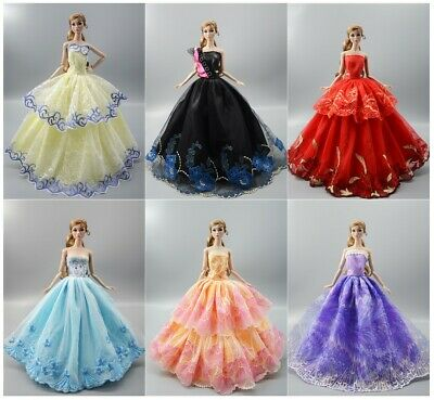 New 6 PCS Princes Dress/Wedding Clothes/Gown For 11.5in.Doll S020