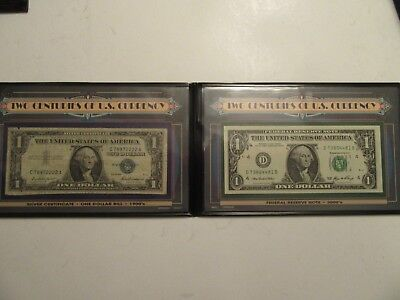 Two Centuries of US Currency, 1957 $1 Silver Certificate & 2006  $1 FRN