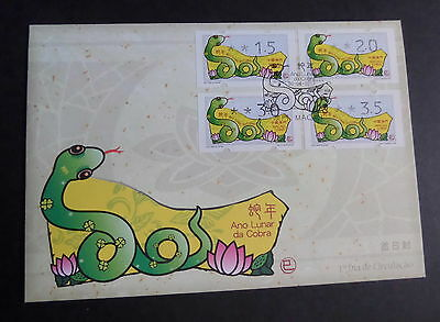 Macau Macao 2013 chinese new year snake frama label FDC First Day Cover (M)