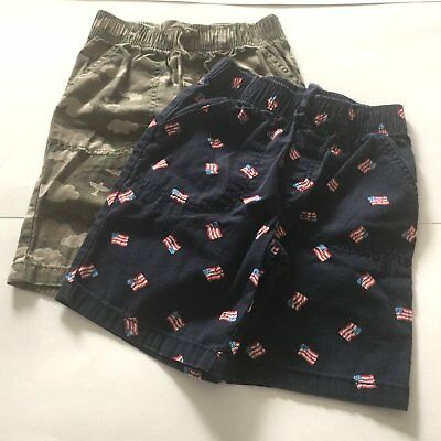 Size 5T Jumping Beans  Lot Of 2 Shorts   Flags And Camouflage      Free Ship