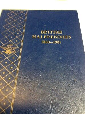 British Halfpennies 1860-1901 26 Coins With Whitman Bookshelf Album