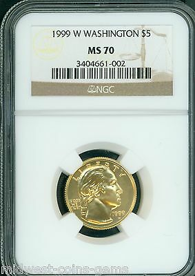 1999-W $5 COMMEMORATIVE NGC GEORGE WASHINGTON 1/4 Oz. GOLD COIN MS70 PERFECT