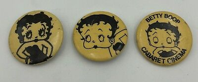 (3) Betty Boop Different Vintage Original Pin Button Pinback 3 Piece Set Lot