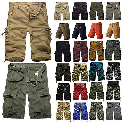Men Sport Camo Cargo Shorts Military Combat Pants Multi-Pocket Trousers Workwear