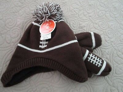 The Children's Place Football lined winter hat and mittens size 12-24 months NEW