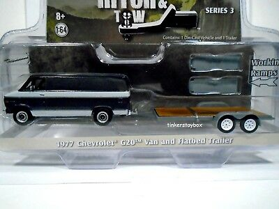1977 Chevy G20 Van with Flatbed Trailer 1/64 scale LE Diecast Model Set