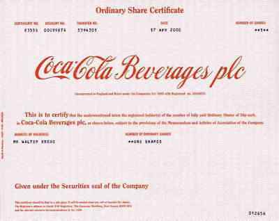 COCA COLA Beverages PLC April 2000 Wakefield Yorks GB Atlanta Delaware Old Stock