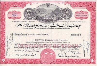 SCARCE RED 32,800 share Pennsylvania Railroad Co stock certificate