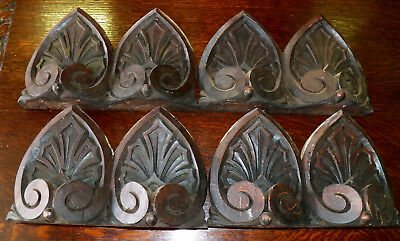 4 Carved Walnut Victorian Finials Pediments Architectural Ornaments