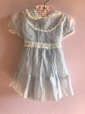 Vintage 50s 60s Baby Girl Sheer Blue White Lace Frilly Party Dress