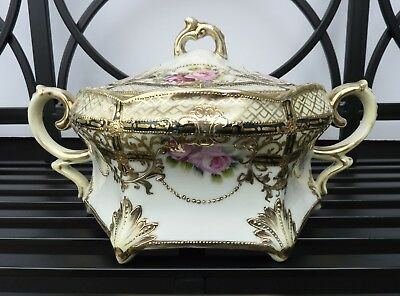 Antique NIPPON Biscuit Jar Moriage Roses Gold Gilt Beads Footed Biscuit Jar MINT