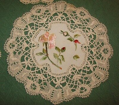 4 Matching Antique Society Silk Embroidered Doilies w/ Lace Trim - H19