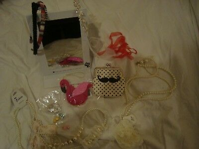Bundle of costume jewellery, hair items, purse and mirror. Great dressing-up kit