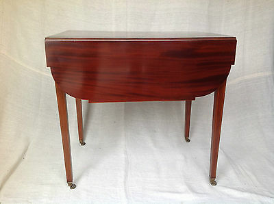 ANTIQUE SHERATON (c 1810-1820) CUBAN MAHOGANY AND SATINWOOD PEMBROKE
