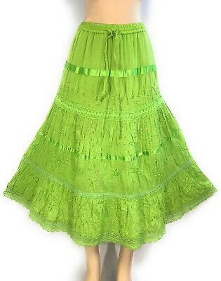 Ladies Cotton Boho Lace Trim Embroidered Sequins Tiered Peasant Sweep Skirt NWT.