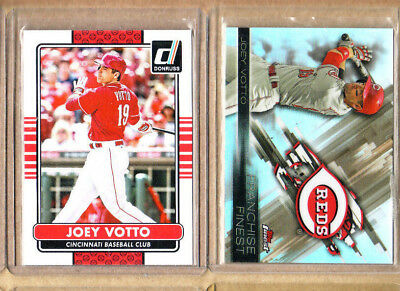 Joey Votto-2 Card Lot-1 2015 Donruss+1 2016 Finest Refractor-Mint Condition-Reds