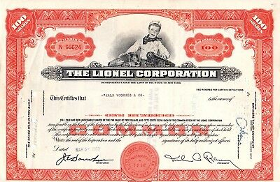 The Lionel Corporation of New York 1963 Stock Certificate - orange