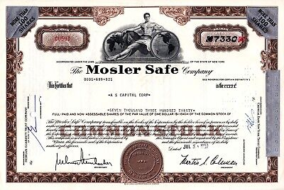 Mosler Safe Company of New York 1967 Stock Certificate - brown