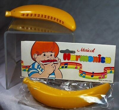Vintage Toy Banana Harmonica Hong Kong Plastic NOS In Package Realistic
