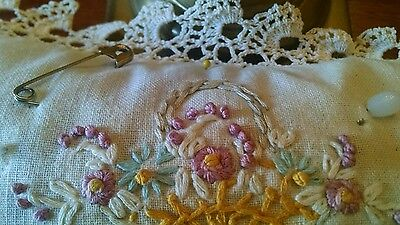 Antique Hand Made Pin Cushion-Fabric and Lace-Flower Basket Embroidery-14 x 6.5
