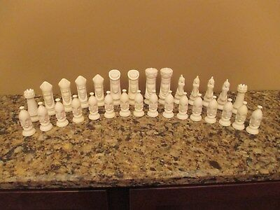 Lot of (30) Vintage Large Unfinished White Molded Porcelain Chess Pieces