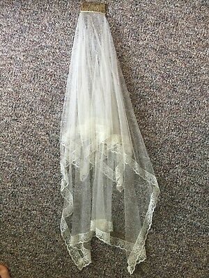 Wedding veil, embroidery lace, ivory, 2 layers