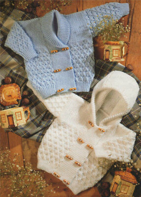 Baby Knitting Pattern HOODED Jacket and CARDIGAN in 8 Ply