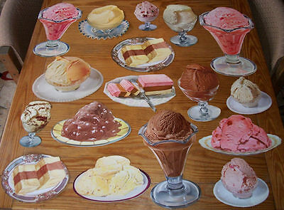 Vintage Lot of 17 Different Paper Diecut Ice Cream Diner Signs