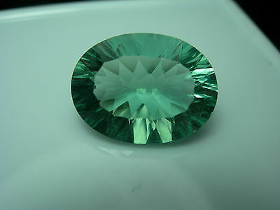 9.84cts rare faceted gem GREEN Fluorite Concave cut Gemstone natural FLUORESCENT