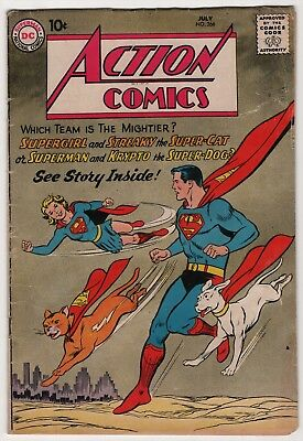 Action #266 solid copy 1960 DC Superman, Supergirl, Krypto, Streaky cover/story