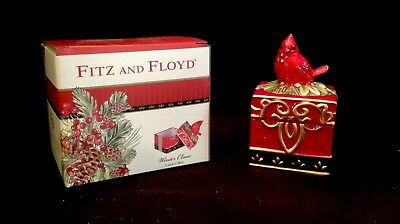 Fitz And Floyd Winter Claus Lidded Box Redbird Porcelain Preowned