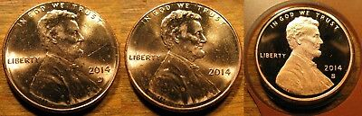 2014 P D S Lincoln Shield Cent 1-P; 1-D; 1-S BU Roll Coins & Proof Coin