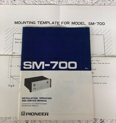 PIONEER SA-700 AMPLIFIER Original Manual W/ Schematic And Mounting