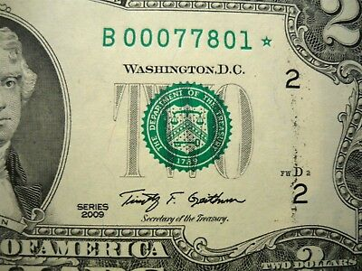 $2 Star Note 2009 Low Serial Number  B 00077801 *  Ink Smudges Uncirculated New