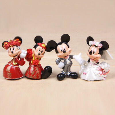 1 Set of 4 Baby Kid Child Room Cake Disney Figure Dolls Mickey Minnie Toy Decor