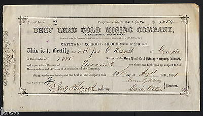 Share Scrip - Gold Mining. 1881 Deep Lead  Gold Mining Co - Gympie Qld..