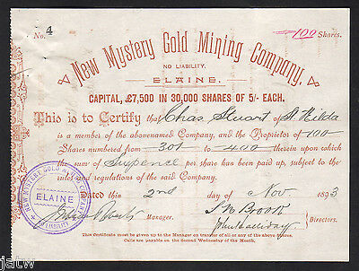 Share Scrip - Mining. 1893 New Mystery Gold Mining Co N/L - Elaine Vic