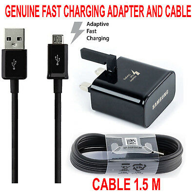 100% Genuine Fast Charger Adapter PLUG & CABLE Samsung Galaxy S7 S6 EDGE NOTE4 5