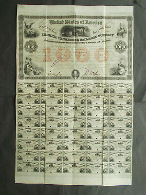 6% $1000- VIRGINIA and TENNESSEE RAILROAD 1853