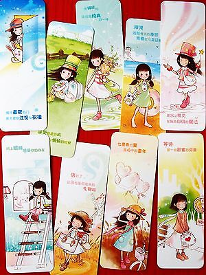 9X Happy Girl Colorful Paper Bookmark Souvenir Collection Decoration Kids Gift B