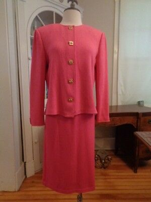 ST. JOHN Collection by Marie Gray pink wool knit skirt suit women's 8 Jacket USA