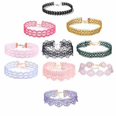 10Pcs/lot Bulk Women Lace Choker Necklace Pendant Collar Victorian Random Color
